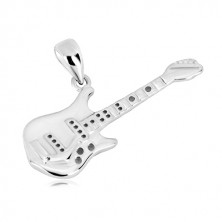 925 silver pendant - detailed shaping of a bass guitar, glossy surface