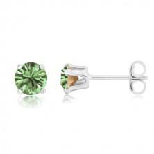 925 silver earrings - glittery light green zircon in mount, studs