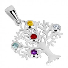 925 silver pendant - tree of life, branched boughs, coloured zircons