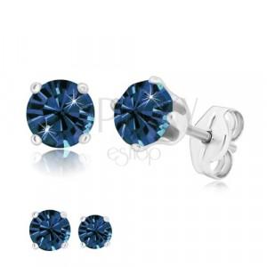 925 silver earrings - glittery dark blue zircon in mount, studs