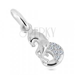 925 silver pendant, glittery zircons, zodiac sign - Capricorn