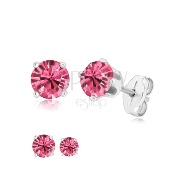 925 silver earrings - round zircon of pink colour gripped with four prongs
