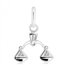 925 silver pendant - transparent zircons in balance pans, zodiac sign LIBRA
