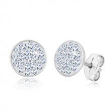 925 silver earrings - glittery circle inlaid with transparent zircons