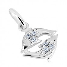 925 silver pendant - glittery zircons in clear hue, zodiac sign PISCES
