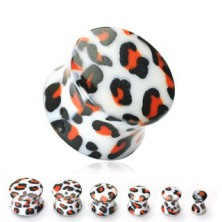 White ear plug, leopard pattern