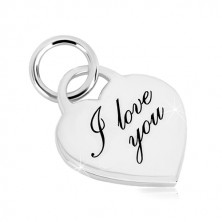 """925 silver pendant - heart lock, finely engraving inscription """"I love you"""""""
