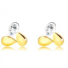 Combined 9K gold earrings - two drops and glittery zircon tear