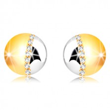 375 combined gold earrings - two-colour circle, line of clear zircons