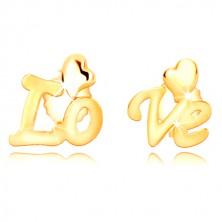 """9K yellow gold earrings - split inscription """"Love"""", asymmetric hearts, studs"""