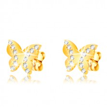 Yellow 375 gold earrings - glossy butterfly, two round zircon lines, studs