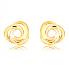 Yellow 375 gold earrings - three ringlets intertwined with one another, studs with safety backs