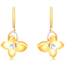 9K gold earrings - narrow stick, butterfly with zircon, wing contour of white gold