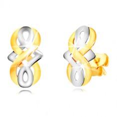 9K gold earrings - symbol of infinity, Celtic knot in white gold, studs