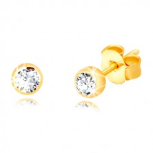 Yellow 375 gold earrings - glittery transparent zircon in glossy holder, 3 mm