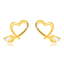 Yellow 9K gold earrings - contour of asymmetric heart, leaf with zircon