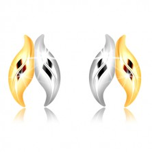 Combined 9K gold earrings - wavy leaves in two-colour combination
