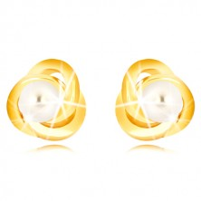 Yellow 9K gold earrings - three ringlets enmeshed with one another, freshwater pearl of white colour, 3 mm