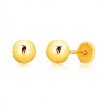 Yellow 375 gold earrings - glossy ball, screw back earrings, 5 mm