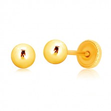 Yellow 9K gold earrings - simple ball, studs with screw back, 4 mm