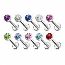 316L steel chin and lip piercing - zircon of various colours in mount, transparent glaze