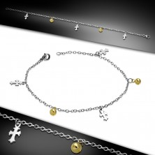 Steel hand or anckle bracelet - Lily crosses and balls of gold colour