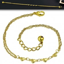 Steel bracelet of gold colour - four hearts with cuts, double chains, jingle bell