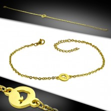 Steel ankle bracelet - round plate with dolphin, gold coloured hue