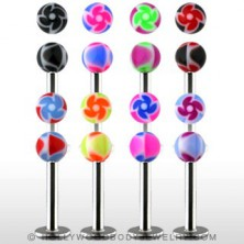 Labret - coloured ball beads with spiral pattern