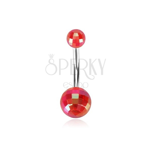 Belly piercing - acrylic disco balls of red colour, rainbow reflections