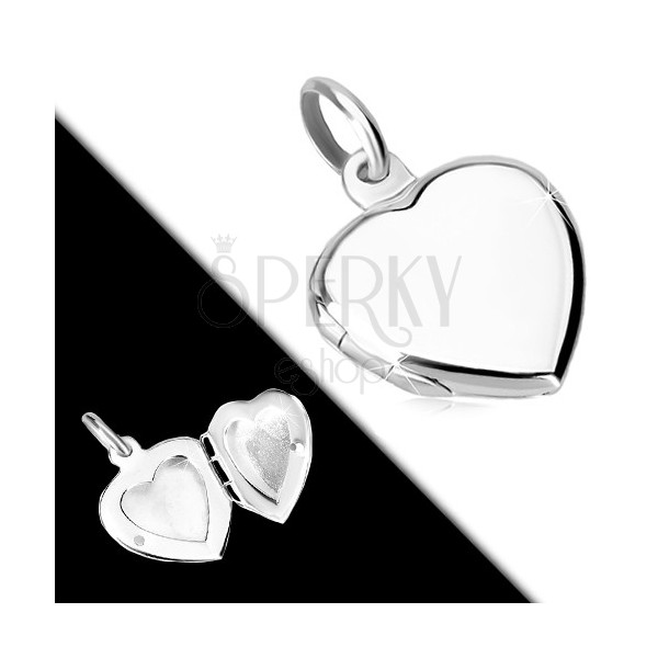 925 silver pendant - flat medallion, symmetric heart with glossy surface