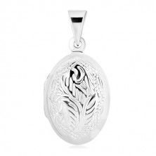 925 silver pendant - medallion, double sided oval adorned with natural motif