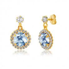 Yellow 9K gold earrings - clear zircon, pale blue zircon with transparent rim
