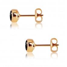 Pink 9K gold earrings - black round zircon, glossy holder, 5 mm