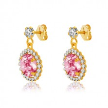 Yellow 375 gold earrings - clear zircon, pink zircon with transparent rim