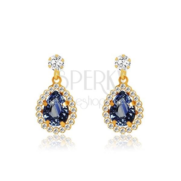 Yellow 9K gold earrings - clear zircon, tear of dark blue colour, glittery rim