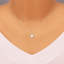 925 silver pendant - flat plate, heart lock with glossy surface