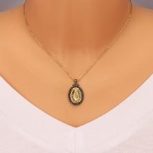 925 silver pendant - Magic medal of gold hue, decorative edge of dark grey colour