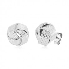 925 silver earrings - glossy spatial knot with narrow lines, studs