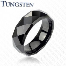 Black tungsten ring with refined rhombuses, 6 mm