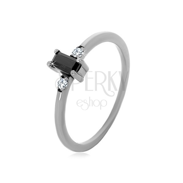925 silver rings - rectangle zircon of black colour, clear round zircons