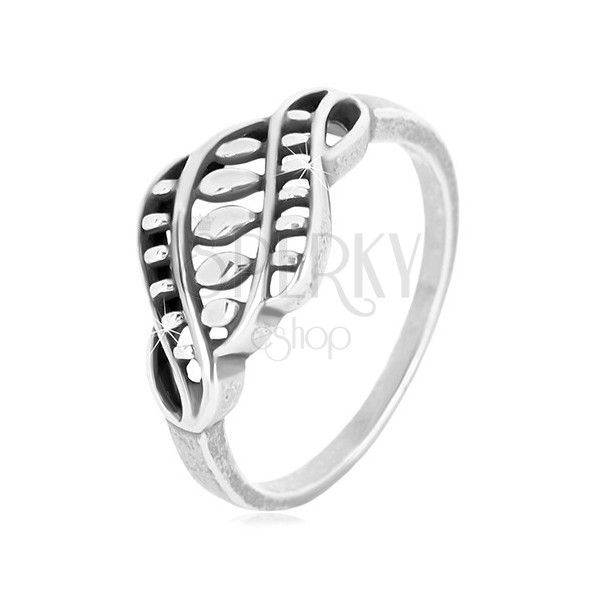 925 silver ring - narrow arms, carved ornament with grains and patina