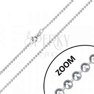 925 silver chain - glossy balls seperated with short sticks, 2 mm