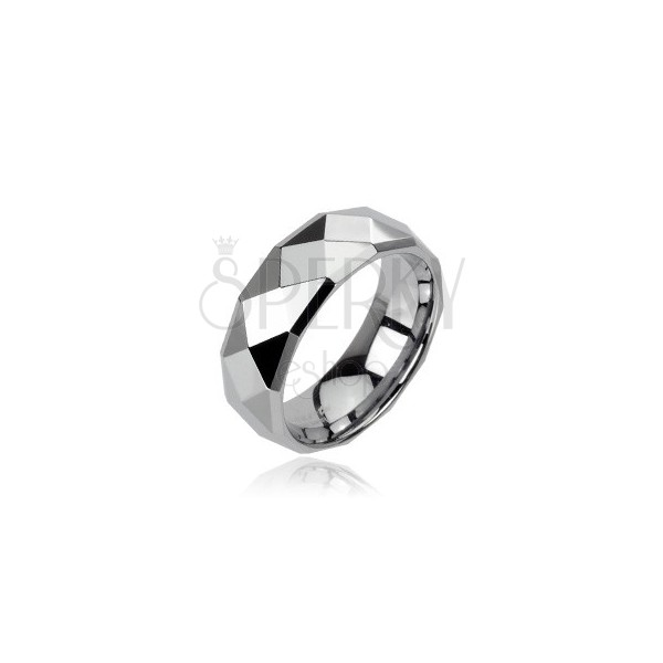 Tungsten ring in silver colour with refined rhombuses, 6 mm