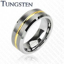 Tungsten ring with stripe in gold colour, 8 mm