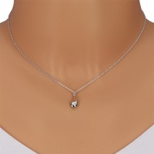 925 silver necklace - glossy drop with diamond, chain