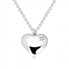 925 silver necklace - glossy heart with star and diamond