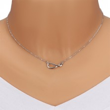 925 silver necklace - glittery chain, symbol of infinity with brilliant