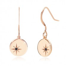 Silver three-piece 925 set of pink-gold colour - north star, black diamond
