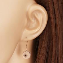 925 silver set, pink-gold hue - bracelet and earrings, circle with Polaris, black diamond